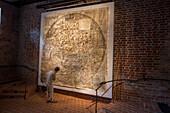 Ebstorf Abbey, original copy of circular Ebstorf world map, Lower Saxony, Germany
