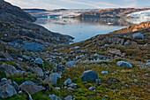 Retreating glacier from the Icecap near Qalerallit Imaa, Greenland.