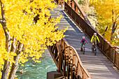 A mother and daughter mountain biking over the Animas River on a bridge on the Animas River Trail in Durango, Colorado.