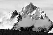 The Grand Tetons vault into the sky after a storm in Grand Teton National Park