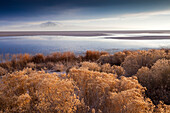 Antelope Island is seen in the distance over the Great Salt Lake, Utah.