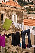 Clothes drying in-between houses in Dubrovnik, Croatia.