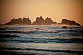 Evening light illuminates rocks and waves in Bandon Bay, Oregon.