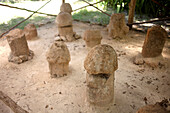 Stone sculptures of penises are displayed in the Mayan city of Uxmal, Yucatan Peninsula, Mexico