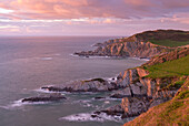 Glorious evening light on the North Devon coast near Ilfracombe, England, United Kingdom, Europe
