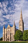 Salisbury Cathedral on a summer evening, Salisbury, Wiltshire, England, United Kingdom, Europe
