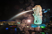 The Merlion at night, the city's symbol, Singapore, Southeast Asia, Asia