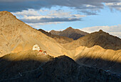 Evening view from Shanti Stupa to the Namgyal Tsemo fort and monastery (gompa), Leh, Ladakh, India, Asia