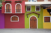 Colourful houses, Downtown, Puerto Vallarta, Jalisco, Mexico, North America