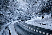 Road in snow, Peak District National Park, Derbyshire, England, United Kingdom, Europe