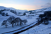Snow scene on Snake Pass, Peak District National Park, Derbyshire, England, United Kingdom, Europe