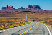 Long road leading into the Monument Valley, Arizona, United States of America, North America