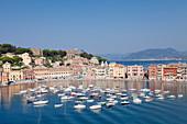 Baia del Silenzio Bay, old town, Chiesa di San Nicolo Church, Grand Hotel Sestri Levante, Province of Genoa, Riviera di Levante, Liguria, Italy, Europe