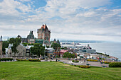 View from the fortifications over Quebec City and the Chateau Frontenac, Quebec, Canada, North America