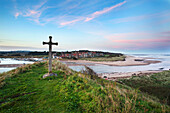 St. Cuthbert's Cross at dusk, Alnmouth, Northumberland, England, United Kingdom, Europe