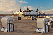 Beach chairs and the historic Pier in Ahlbeck on the Island of Usedom, Baltic Coast, Mecklenburg-Vorpommern, Germany, Europe