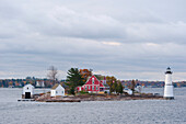 A lighthouse on the St. Lawrence River, New York State, United States of America, North America