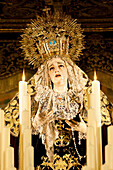 Image of Virgin Mary on float (pasos) carried during Semana Santa (Holy Week), Seville, Andalucia, Spain, Europe
