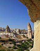 Fairy Chimneys rock formation landscape near Goreme, Cappadocia, Anatolia, Turkey, Asia Minor, Eurasia