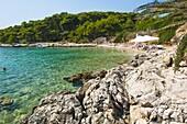 Beach in the Pakleni Islands (Paklinski Islands), Dalmatian Coast, Adriatic Sea, Croatia, Europe