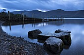 Twilight on the shores of Derwent Water near Ashness Jetty, Lake District National Park, Cumbria, England, United Kingdom, Europe