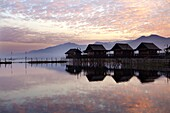 Golden Island Cottages at sunrise, tourist accommodation on Inle Lake, Myanmar (Burma)