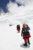 Climbers on the Lhotse Face at 7000m on Mount Everest, Solu Khumbu Everest Region, Sagarmatha National Park, UNESCO World Heritage Site, Nepal, Himalayas, Asia