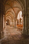 Looking down an aisle in the church of Notre Dame, Saint Pere, Yonne, Burgundy, France, Europe