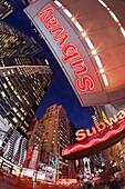 Neon lights of 42nd Street, Times Square, Manhattan, New York City, New York, United States of America, North America