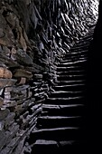 Stairs in the hollow wall, Mousa Broch, best preserved of all brochs, standing 12-13 m high, in perfect state, due to its isolation, Mousa Island, Shetland Islands, Scotland, United Kingdom, Europe