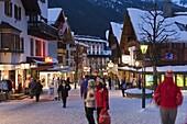 Main street in winter, St. Anton am Arlberg, Tirol, Austria, Europe