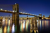 The Brooklyn and Manhattan Bridges spanning the East River, New York City, New York, United States of America, North America