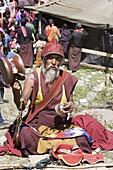 Pilgrim at Buddhist festival (Tsechu), Haa Valley, Bhutan, Asia