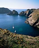 Havre Gosselin, looking north to Gouliot headland, west coast, Sark, Channel Islands, United Kingdom, Europe
