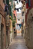 Washing out to dry, back lane off Garibaldi Street, Venice, Veneto, Italy, Europe