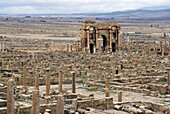View from the theatre over the Roman site of Timgad, UNESCO World Heritage Site, Algeria, North Africa, Africa