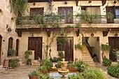 Courtyard, Beit Al-Wakil Hotel, Aleppo (Haleb), Syria, Middle East