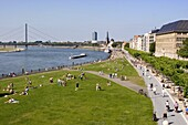 View over the Rheinuferpromenade along the River Rhine towards the old city, Dusseldorf, North Rhine Westphalia, Germany, Europe