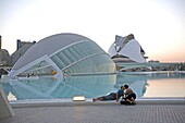 L'Hemisferic and El Palau de les Arts Reina Sofia (Reina Sofia Arts Palace), City of Arts and Sciences, Valencia, Spain, Europe