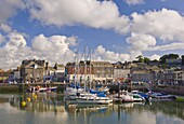 Small boats and yachts at high tide in Padstow harbour, Padstow, North Cornwall, England, United Kingdom, Europe