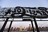 Metal sign and Manhattan, New York, United States of America, North America