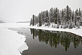 Malign River and Malign Lake in winter, Jasper National Park, UNESCO World Heritage Site, Alberta, Canada, North America