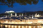City view at dusk, Salzburg, Austria, Europe