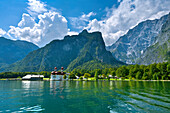 St. Bartholomae at lake Koenigssee, Berchtesgaden, Upper Bavaria, Bavaria, Germany