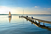 Autumn atmosphere at lake Starnberg, St. Heinrich, Bavaria, Germany