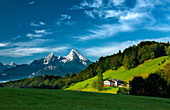 Maria Gern with view towards Watzmann, Berchtesgaden, Bavaria, Germany