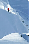 Man, Skiing, Powderturn, Downhill, Valley, St Luc, Chandolin, Valais, Switzerland