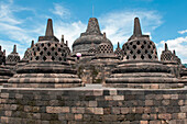 Stupas at Borobudur Temple, Borobodur, Central Java, Java, Indonesia, Asia