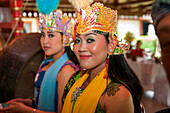 Teenage girls at dance and cultural performance, near Borobodur, Central Java, Java, Indonesia, Asia