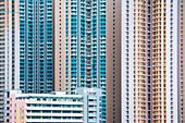Detail of high-rise apartment buildings, Hong Kong, Hong Kong, Asia